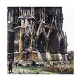 The Damaged Cathedral of Reims During the Battle of the Marne East of Paris, September 1914 Giclee Print by Jules Gervais-Courtellemont