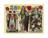Victorian Scrap: King James I, King Charles I, Oliver Cromwell Giclee Print by  English School