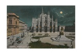 Piazza Del Duomo, Milan. Postcard Sent in 1913 Giclee Print by  Italian Photographer