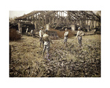 French Soldiers Installing Barbed Wire Near the Storage Building for Bottle Giclee Print by Fernand Cuville
