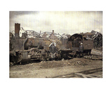 Burnt Out Locomotive and Railway Car in Front of the Ruins of the Heavily Damaged Vauxrot… Giclee Print by Fernand Cuville