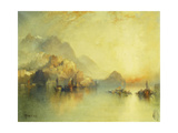A Hillside Village at Sunset, 1918 Giclee Print by Thomas Moran