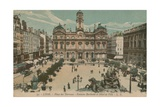 Lyon - Place des Terreaux - Bartholdi Fountain and the Town Hall. Postcard Sent in 1913 Giclee Print by  French Photographer