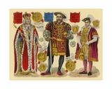 Victorian Scrap: King Henry VII, King Henry VIII, King Edward VI Giclee Print by  English School
