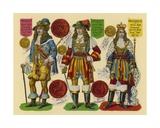 Victorian Scrap: King Charles II, King James II, King William III Giclee Print by  English School