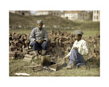 Two African Soldiers Heating Up a Meal, Soissons, Aisne, France, 1917 Giclee Print by Fernand Cuville