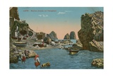 Small Marina and the Faraglioni, Capri. Postcard Sent in 1913 Giclee Print by  Italian Photographer