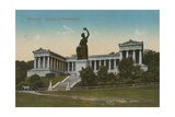 Bavaria Statue and Ruhmeshalle, Munich. Postcard Sent in 1913 Giclee Print by  German photographer