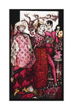 Bert the Bigfoot, Sung by Villon'. 'Queens', Nine Glass Panels Acided, Stained and Painted,… Gicleetryck av Harry Clarke