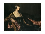 A Lady in Black: Portrait of Jean Ainsworth, Viscountess Massereene and Ferrard, 1917 Gicléetryck av Sir John Lavery