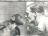 Booboo the Chimpanzee and John Shelly at ZSL London Zoo, September 1927 Photographic Print by Frederick William Bond
