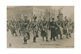 Kaiser Wilhelm II of Germany with His Six Sons. Postcard Sent in 1913 Giclee Print by  German photographer
