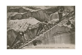 Chamonix - the Ascent of Mont Blanc. Climbers Passing a Crevice. Postcard Sent in 1913 Giclee Print by  French Photographer