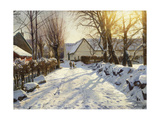 First Snow, 1923 Reproduction procédé giclée par Peder Monsted