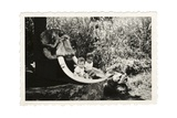 Two Children with an Elephant Skull, c.1940 Giclee Print