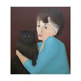 Woman with a Cat, 1982 Giclee Print by Ann Brain