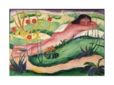 Nude Lying in the Flowers, 1910 Giclee Print by Franz Marc