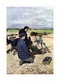 A French Position with Machine Guns During the Battle of the Marne East of Paris, September 1914 Giclee Print by Jules Gervais-Courtellemont