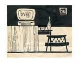 Sketch for the Interior Design of a One-Room Soviet Apartment, 1962 Giclee Print by Nina Ivanovna Shirokova