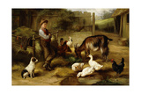 A Boy with Poultry and a Goat in a Farmyard, 1903 Giclee Print by Charles Hunt