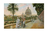 Pope Pius X in the Gardens of the Vatican, Rome. Postcard Sent in 1913 Giclee Print by  Italian Photographer