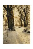 A Wooded Winter Landscape with Deer, 1912 Reproduction procédé giclée par Peder Mork Monsted