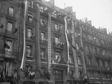 Building Decked with French and Allied Flags, Boulevard Haussmann, Paris, 1918 Photographic Print by Jacques Moreau