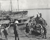 Mayor Gosling Getting into a Boat to Row Up the River Ganges, Lucknow, January 1912 Photographic Print by  English Photographer