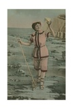 Postcard of a Woman Holding a Fishing Net and Shell, Sent in 1913 Giclee Print by  French Photographer