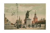 Monument to Kuzma Minin and Prince Dmitry Pozharsky, Moscow. Minin and Pozharsky Became National… Giclée-tryk af Russian Photographer