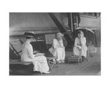 Princess Alexander of Teck, Mrs Fitzroy and Lady Adelaide Colville on Board Giclee Print by  English Photographer