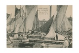 View of the Port with Sailing Boats, St Tropez, Cote d'Azur. Postcard Sent in 1913 Giclee Print by  French Photographer