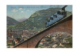 Bolzano - Funicular Railway and View of the Town. Postcard Sent in 1913 Giclee Print by  Italian Photographer