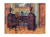 Carved Mahogany Pedestal Sideboard. Oval Wheel-Back Master's Chair Giclee Print by Edwin John Foley