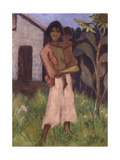 Standing Gypsy with Children; Stehende Zigeunerin Mit Kind, 1927 Giclee Print by Otto Muller or Mueller