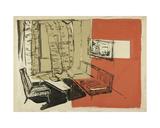 Sketch for the Interior Design of a One-Room Soviet Apartment, 1964 Giclee Print by Nina Ivanovna Shirokova