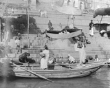 Hindus Performing their Sacred Rites in the River Ganges, Benaras, January 1912 Photographic Print by  English Photographer