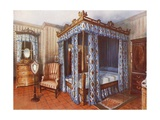 A Hepplewhite Bedroom. Chintz-Curtained Inlaid Satinwood Bed. Inlaid Satinwood Dressing Chest and… Giclee Print by Edwin John Foley