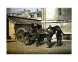 Employees of the Maison Rohart with a Horse and Cart, Reims, Marne, France, 1917 Giclee Print by Fernand Cuville