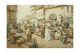 A Flower Market, France, 1900 Giclee Print by Alfred, Jr. Glendening