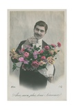 Postcard of a Man Holding a Bouquet of Flowers, Sent in 1913 Giclee Print by  French Photographer