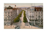 Bahnhofstrasse, Zurich. Postcard Sent in 1913 Giclee Print by  Swiss photographer