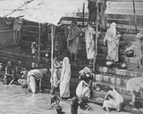 Bathing in Benares, Holy City, January 1912 Photographic Print by  English Photographer