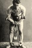 American School - Portrait of Harry Houdini in Chains. c.1900 - Fotografik Baskı