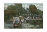 Goring - Boating on the River. Postcard Sent in 1913 Giclee Print by  English Photographer