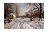 A Sleigh Ride Through a Winter Landscape, 1915 Giclee Print by Peder Mork Monsted
