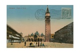 Venice - St Mark's Square. Postcard Sent in 1913 Giclee Print by  Italian Photographer