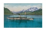 Lake Geneva - La Suisse Steamboat. Postcard Sent in 1913 Giclee Print by  Swiss photographer