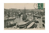 Military Port at Brest, France. Postcard Sent in 1913 Giclee Print by  French Photographer