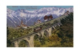 Innsbruck - Funicular Railway and Viaduct. Postcard Sent in 1913 Giclee Print by  Austrian Photographer